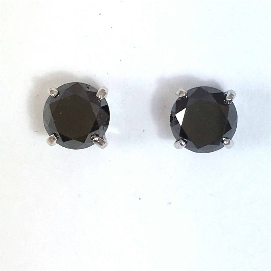 18ct White Gold, 3.80ct Diamond Earring