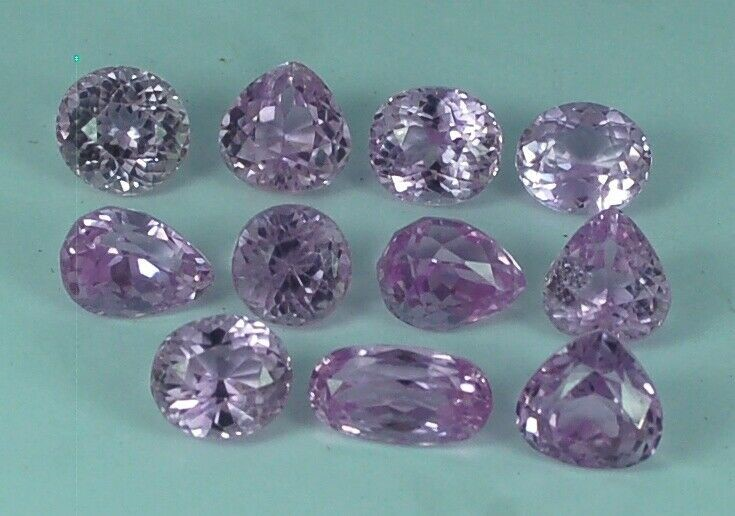 Eleven Loose Pink Kunzite, 51.40ct in Total