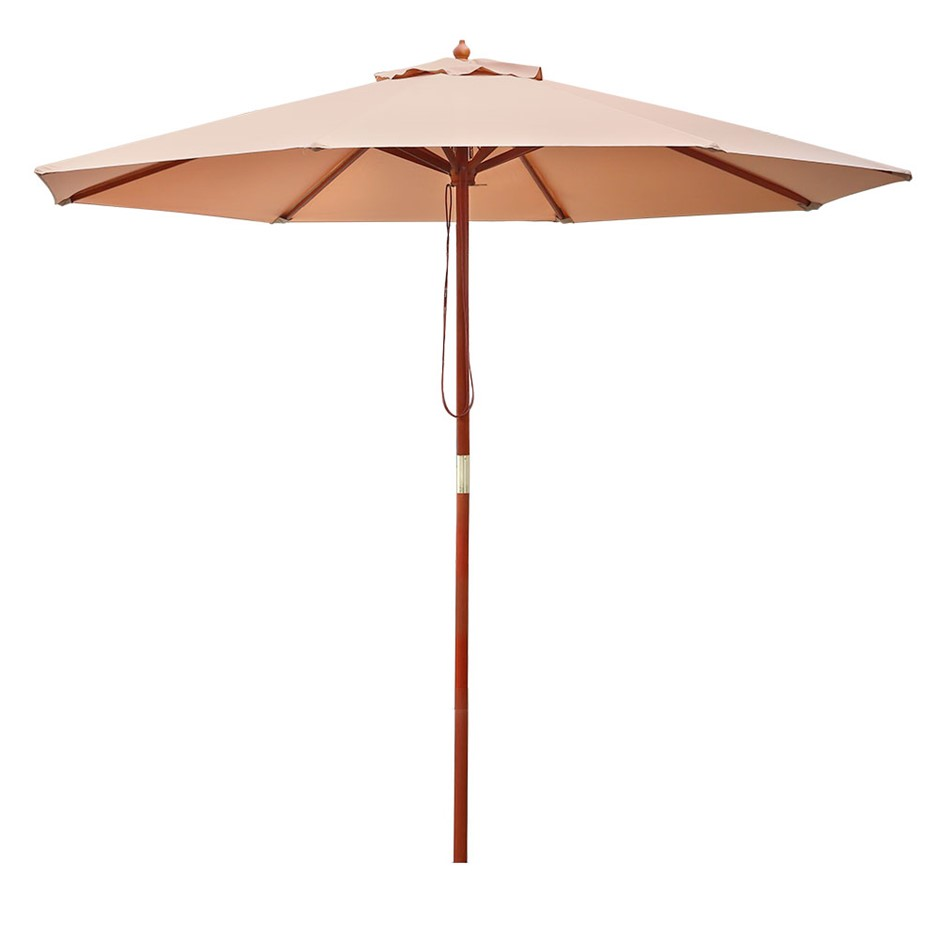 Instahut 2.7M Outdoor Pole Umbrella Cantilever Stand Garden Umbrellas Beige