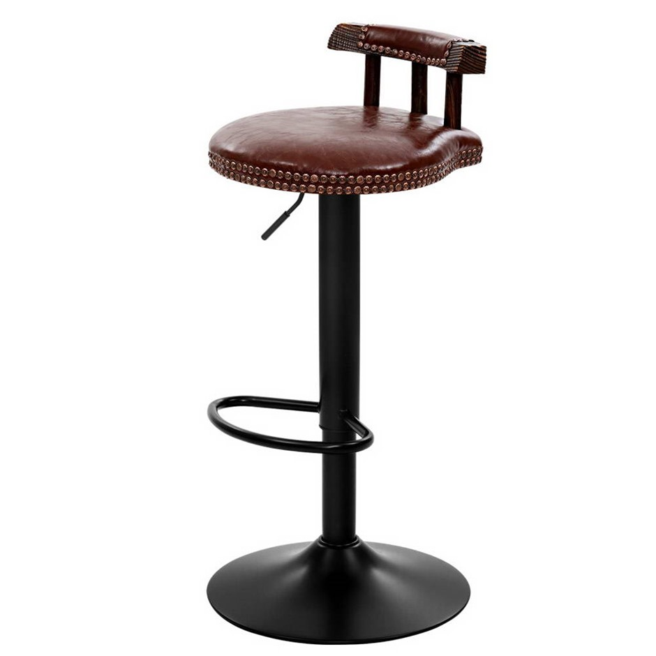 Artiss 2x Kitchen Bar Stools Vintage Chairs Swivel Gas Lift Leather Brown