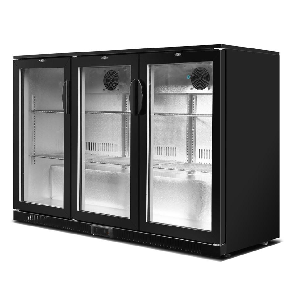 Devanti Bar Fridge 3 Glass Door Commercial Display Beverage Cooler Black