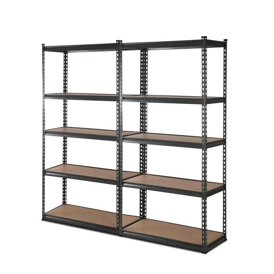 2x0.9M 5-Shelves Steel Warehouse Shelving Racking Garage Storage Rack Grey