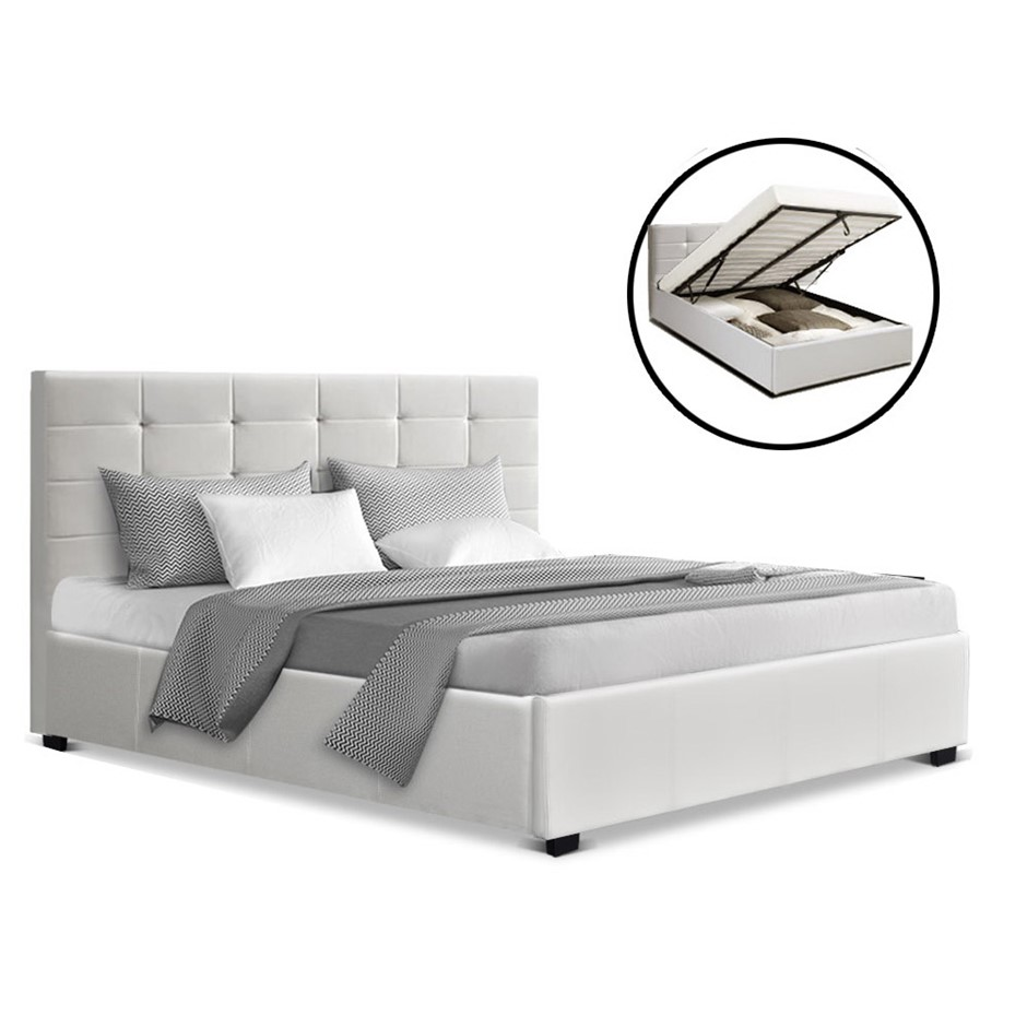 Artiss LISA Double Full Size Gas Lift Bed Frame Base Storage Mattress White
