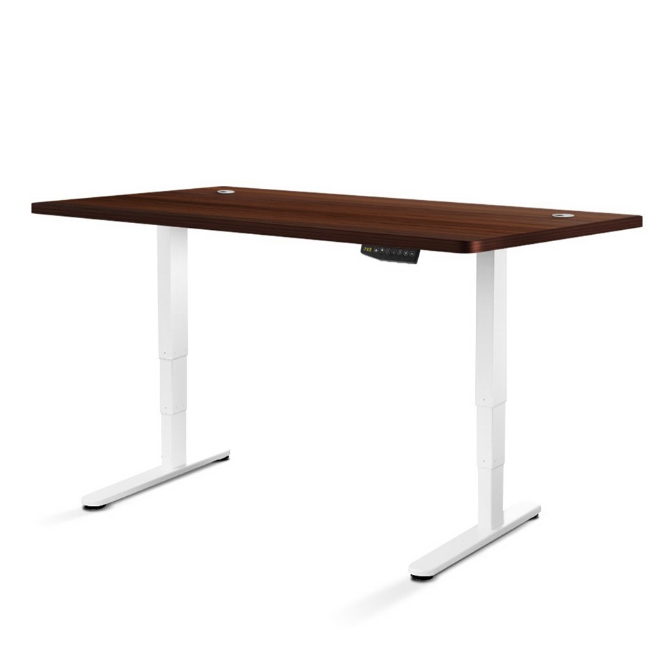 Artiss Height Adjustable Standing Motorised Electric Roskos White Walnut