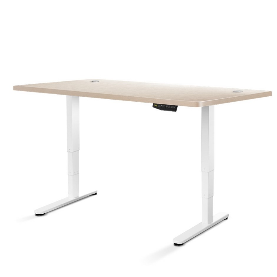 Artiss Height Adjustable Motorised Electric Roskos III White White Oak