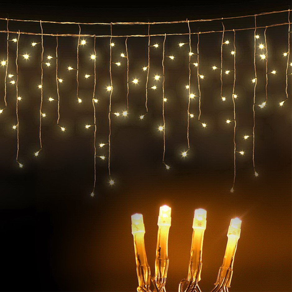 Jingle Jollys 500 Solar Powered Icicle Lights - Warm White