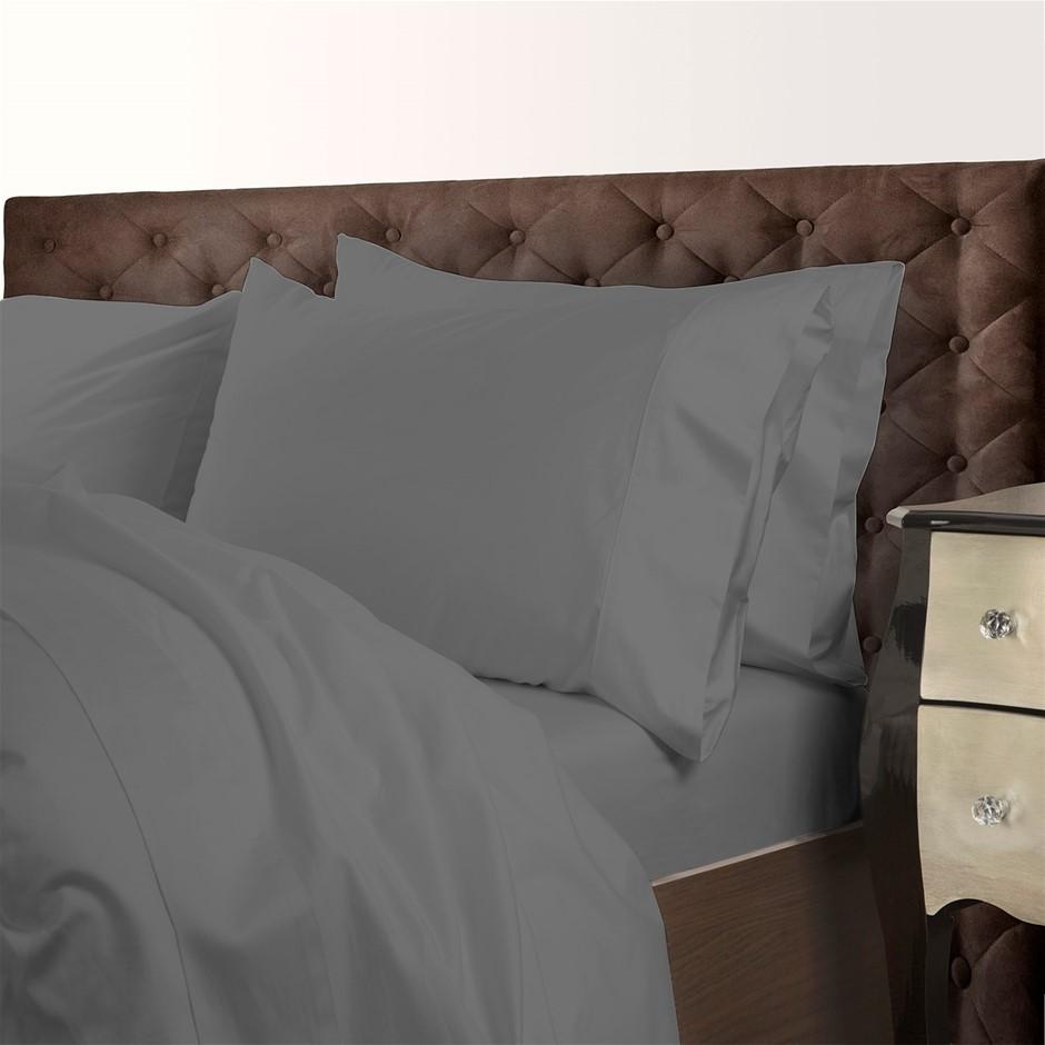 Royal Comfort 1000TC Cotton Blend Quilt Cover Sets Queen - Charcoal