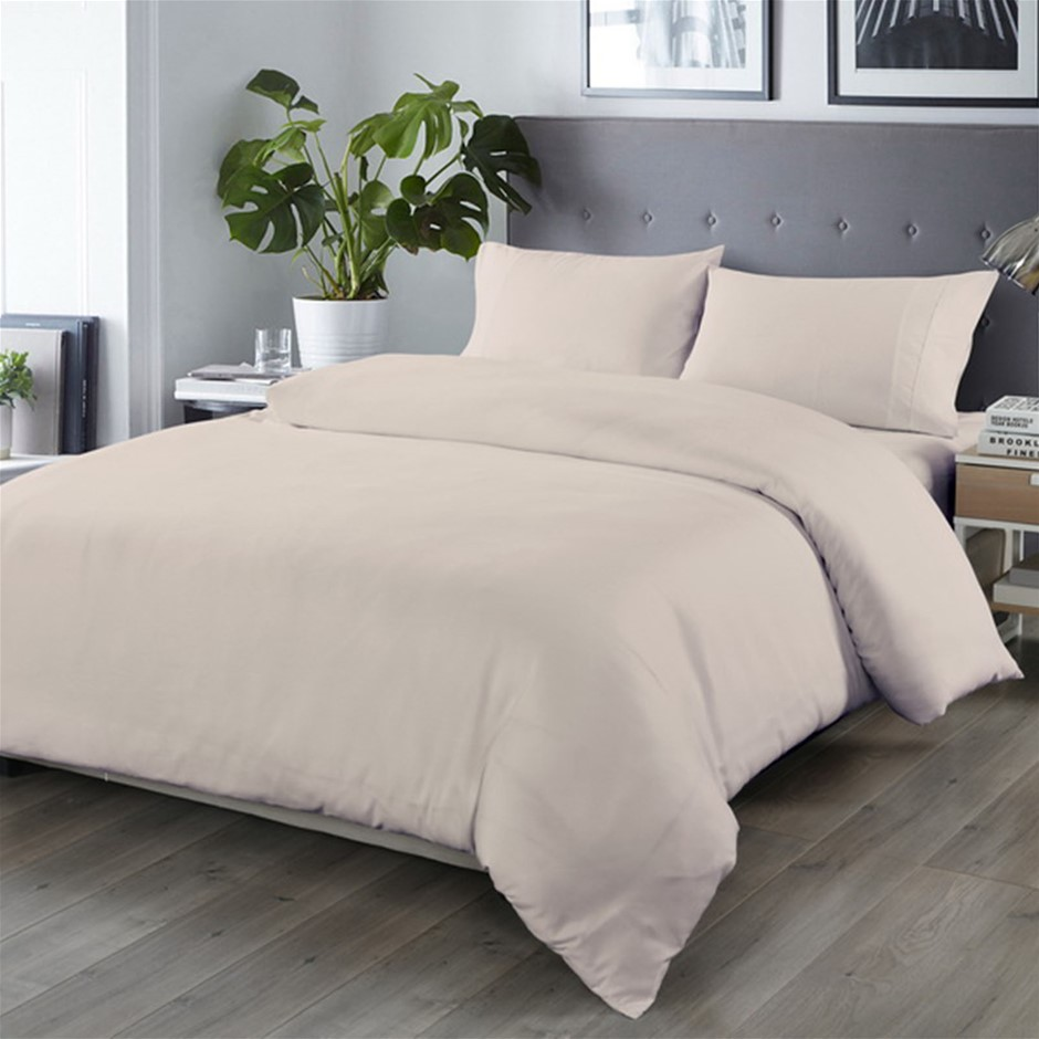 Royal Comfort Blended Bamboo Quilt Cover Sets -Warm Grey-King