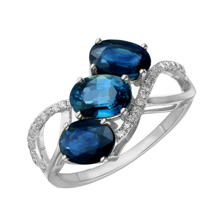 9ct White Gold, 2.98ct Blue Sapphire and Diamond Ring