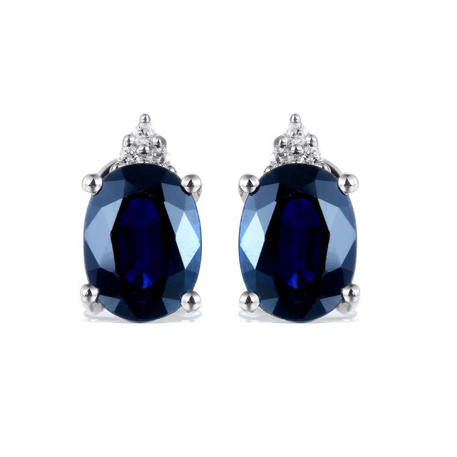 9ct White Gold, 3.21ct Blue Sapphire and Diamond earring