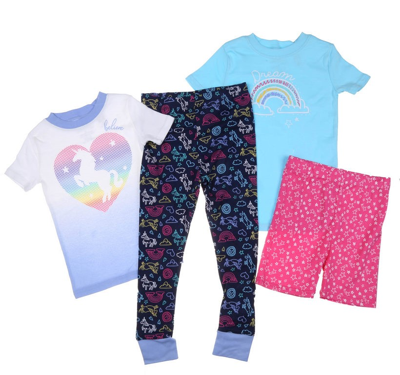 Kid`s 4pc Sleepwear Set, Size 5, Includes; Shirt, Shorts & Long Pants, UNIC