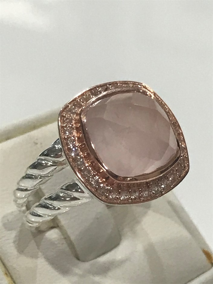 Lovely Rose Quartz Halo Ring 18K Rose/White Gold Vermeil