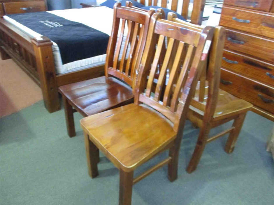 4 x Timber High Back Chairs