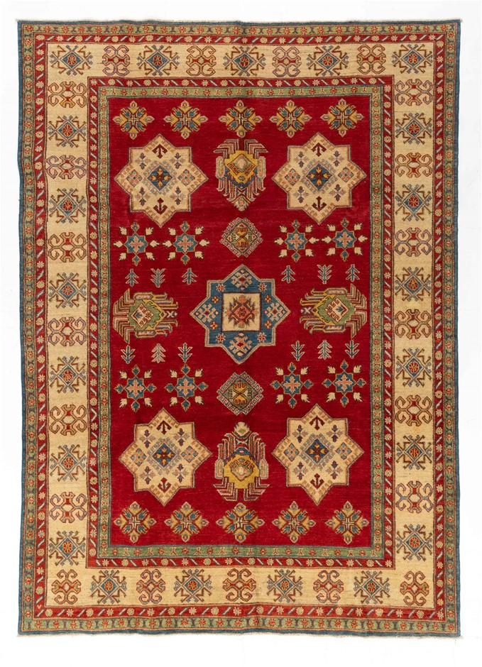 Afghan Kazak Tribal Hand Knotted Pure Wool Pile Size (cm): 215 x 295