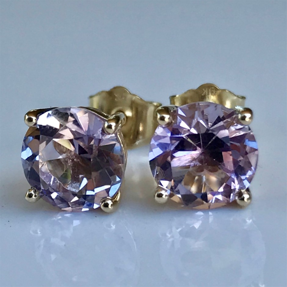Solid 9K Gold Rare ``Rose de France`` Pink Amethyst Stud Earrings