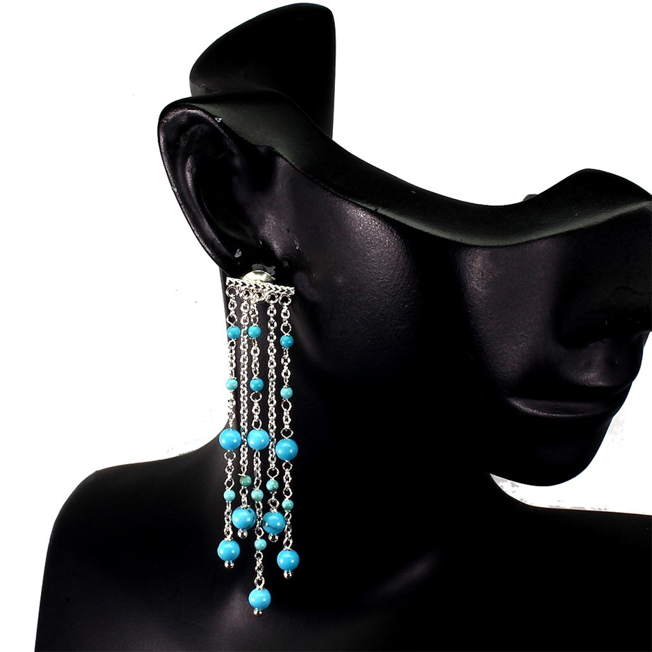 Gorgeous Genuine Turquoise Drop Earrings