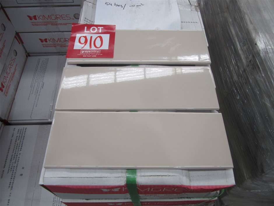 10 boxes of Kimgres 300mm x 100mm Cream Gloss Ceramic Wall Tiles.