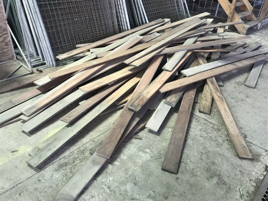 Assorted pile of tongue and groove hardwood timber