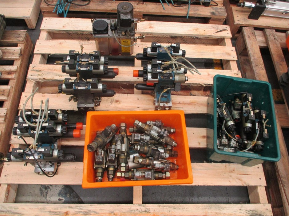 Pallet of Assorted Hydraulic Valves