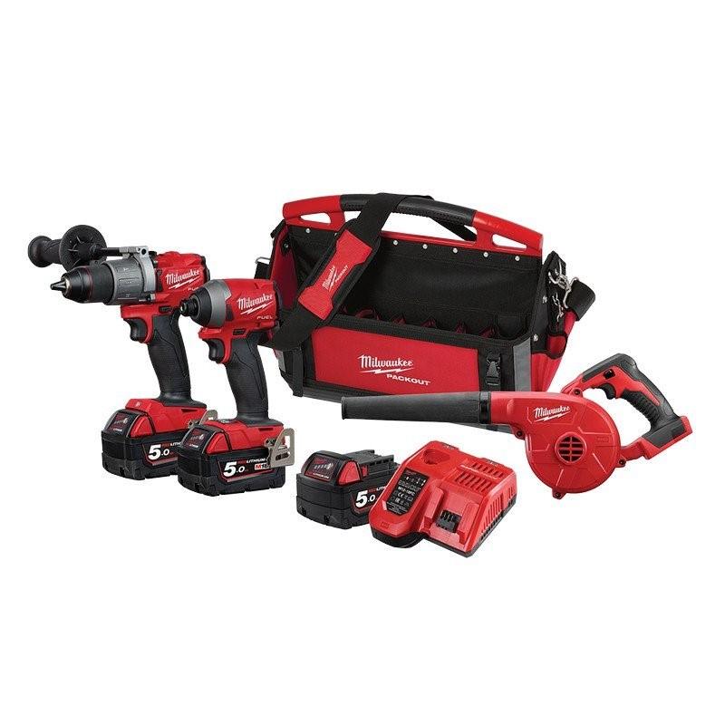 MILWAUKEE 3pc 18V Brushless Combo Kit Comprising Hammer Drill, Impact Drill