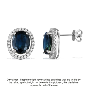 9ct White Gold, 4.74ct Blue Sapphire and