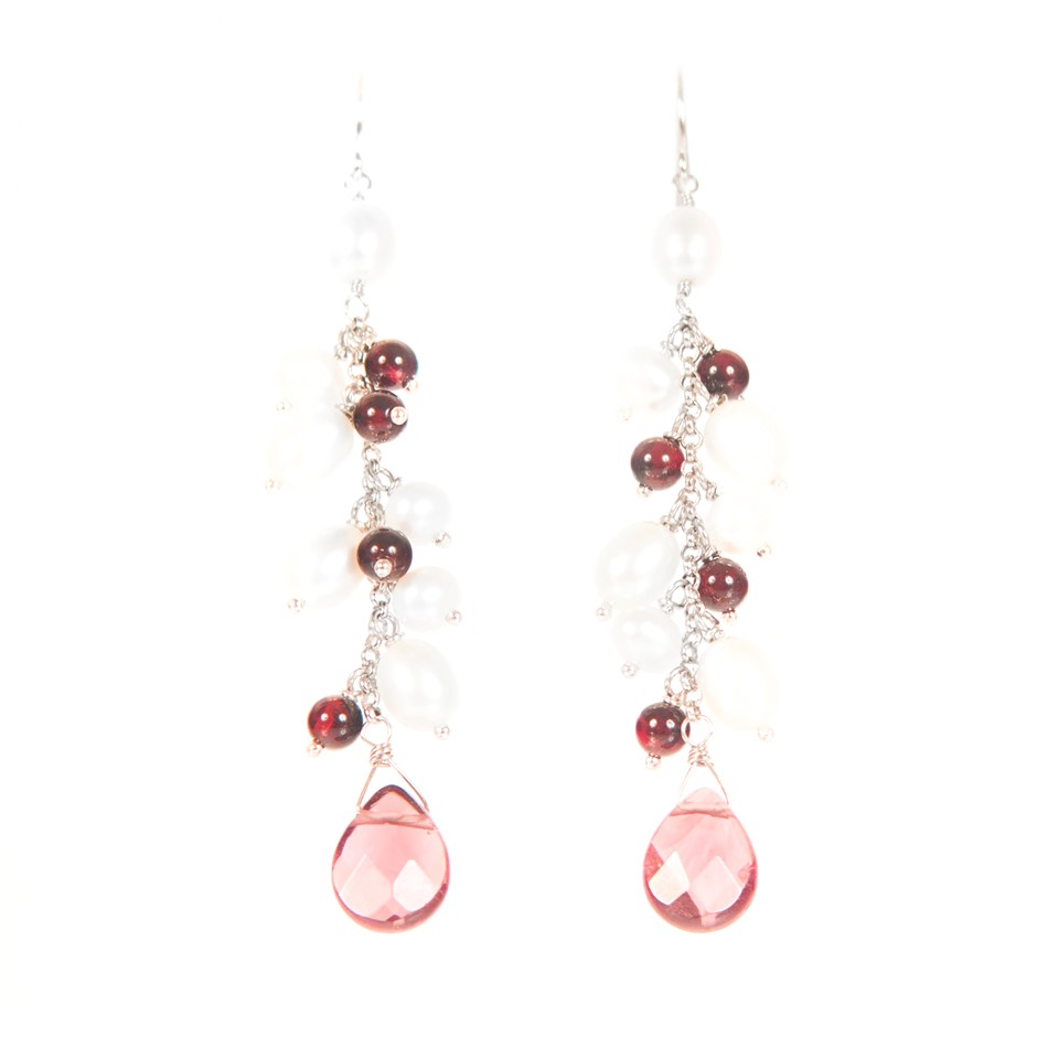 Sterling Silver With Freshwater Pearl And Crystal Earrings