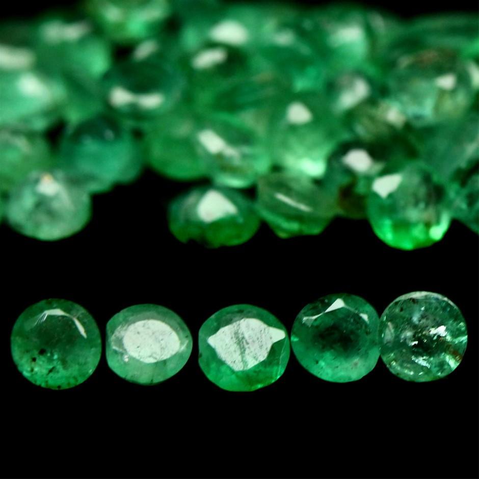 8.27ct. Genuine Round Facet Green Emeralds 68 Piece