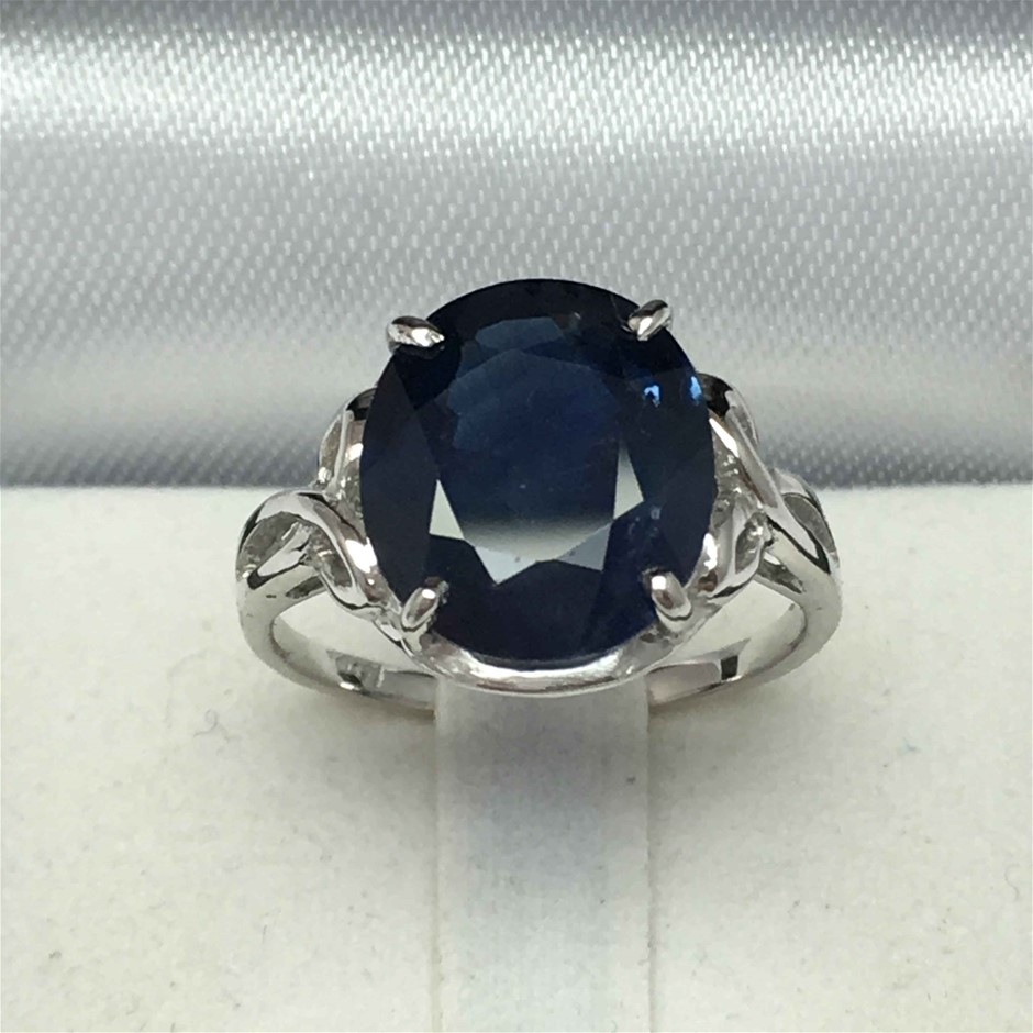 18ct White Gold, 5.80ct Blue Sapphire Ring