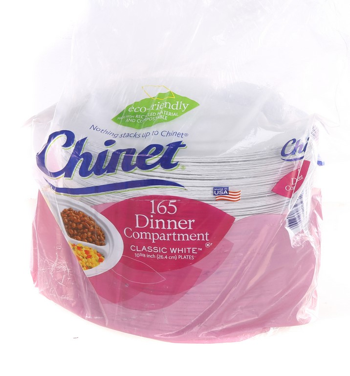 165 x CHINET Disposable Classic Dinner Compartment Plates 26cm, Recycled &