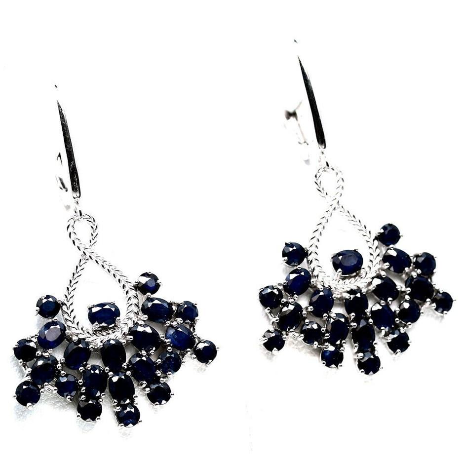 Fabulous Oval Deep Blue sapphire Dangle Earrings