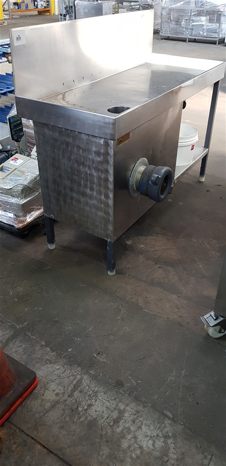 Thompson Bench Mincer Stainless Steel table and various plates and blades