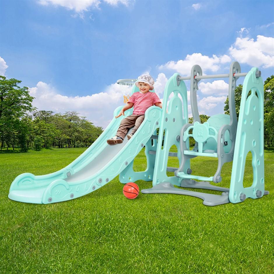 Keezi Kids Slide Swing Outdoor Indoor Playground Basketball Hoop Toddler