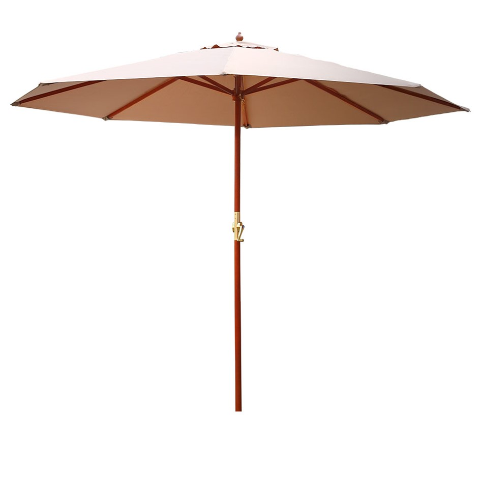 Instahut 3M Outdoor Pole Umbrella Cantilever Stand Garden Patio Beige