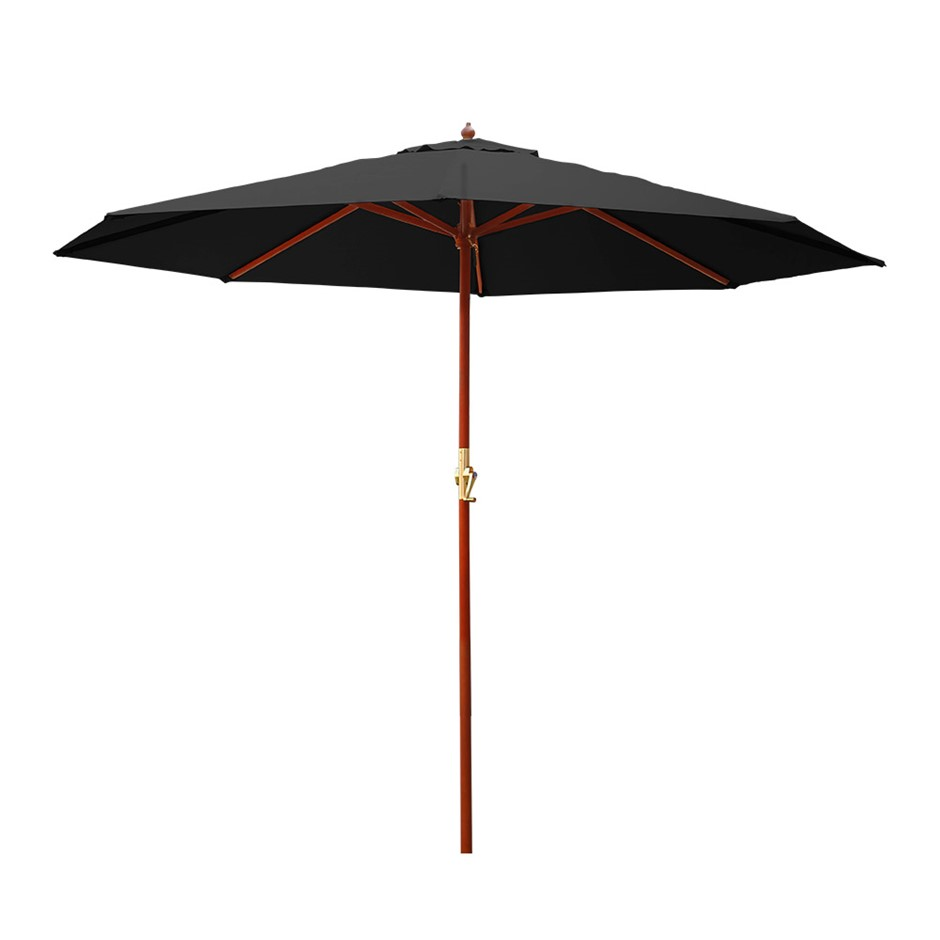 Instahut 3M Outdoor Pole Umbrella Cantilever Stand Garden Patio Black