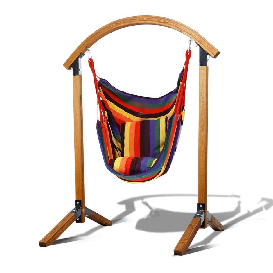 Gardeon Outdoor Swing Chair Timber Hammock Pillow Patio Wooden Bench
