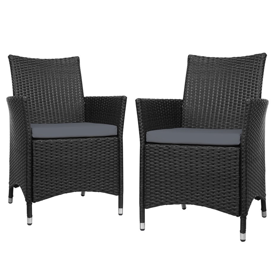 Gardeon 2x Outdoor Bistro Set Chairs Patio Furniture Dining Wicker Garden