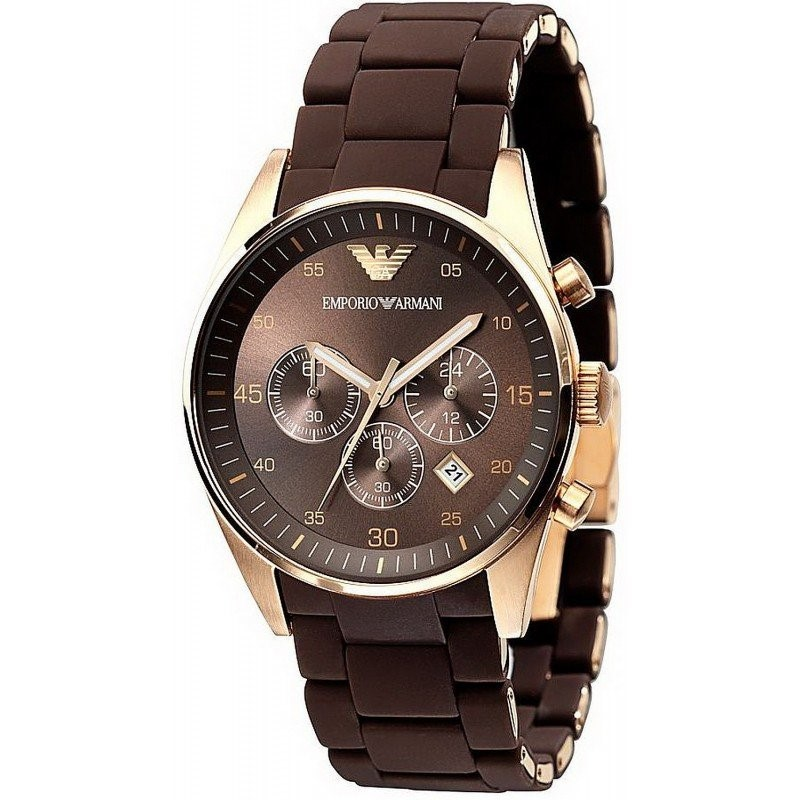 Handsome new Emporio Armani rose gold men's chronograph watch.