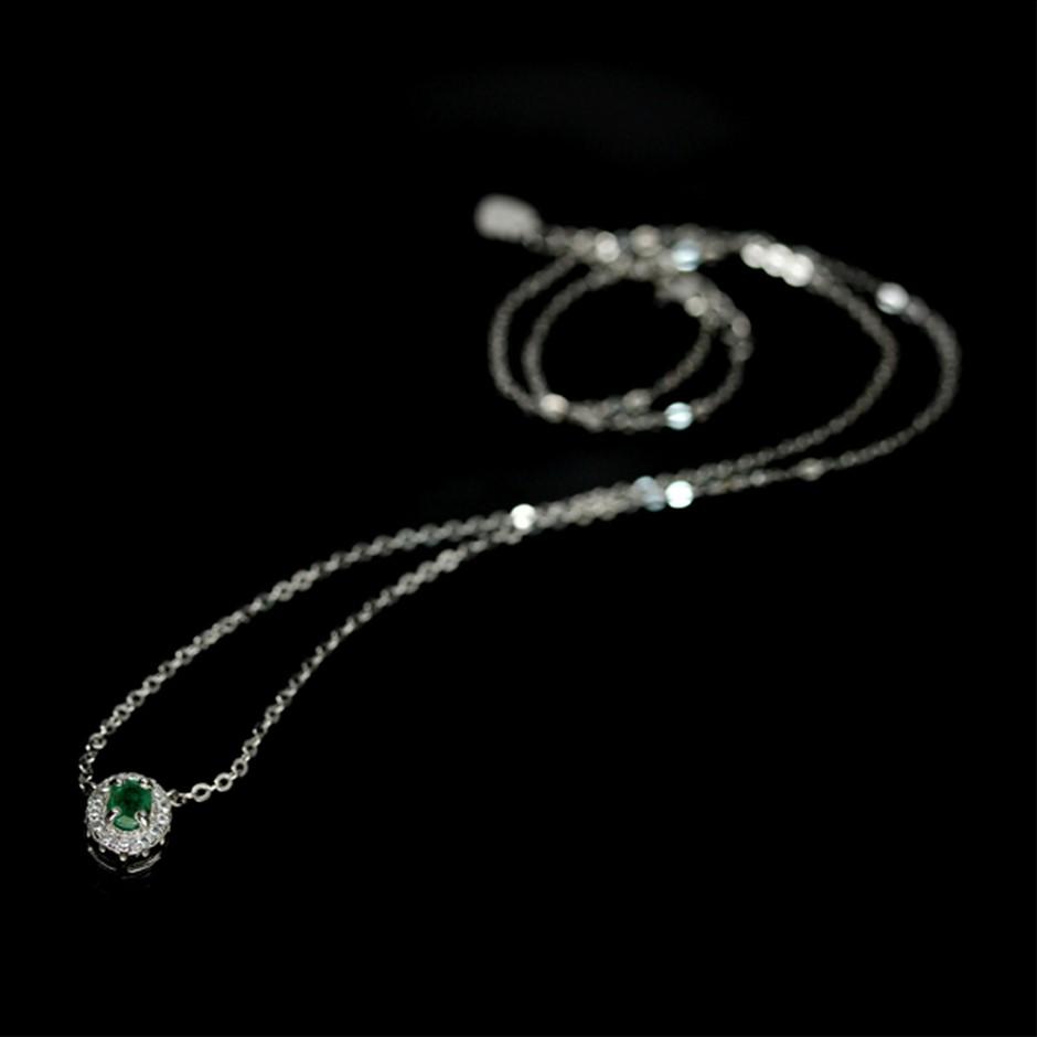 Beautiful Genuine Emerald Solitaire Necklace
