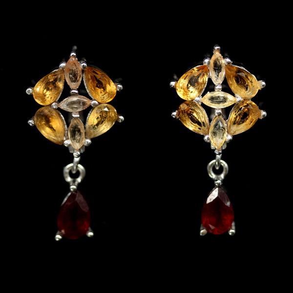 Unique Genuine Sapphire & Ruby Drop earrings.