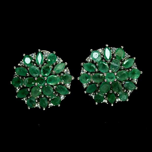 Genuine Emerald cluster Stud Earrings