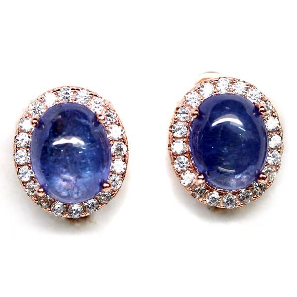 Striking Genuine tanzanite Huggie Earrings