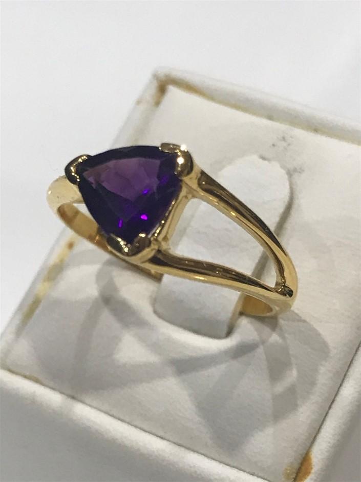 Brilliant 2.00ct Amethyst & 18K Gold Vermeil Ring. Size N 1/2 (7)