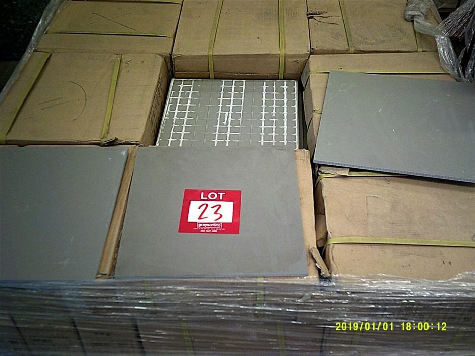 27 boxes of grey 300mm x 300mm porcelain floor tiles.