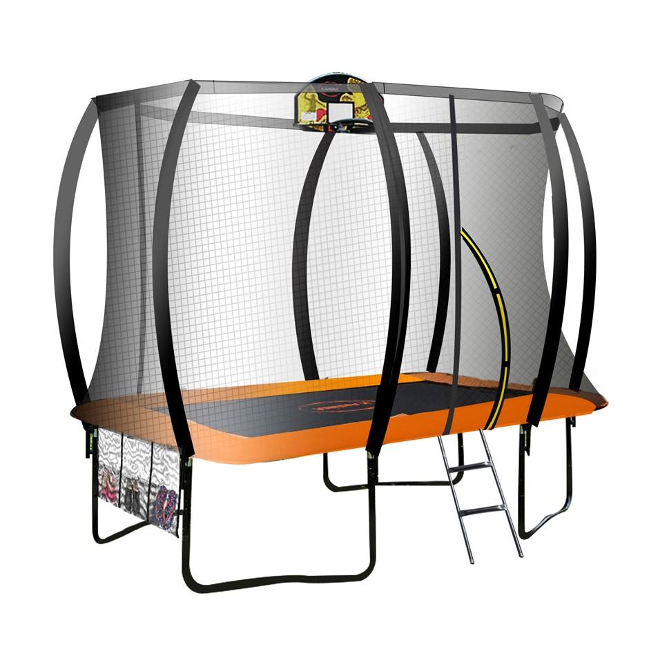 Kahuna Trampoline 8 ft x 11 ft Rectangular with Basketball Set