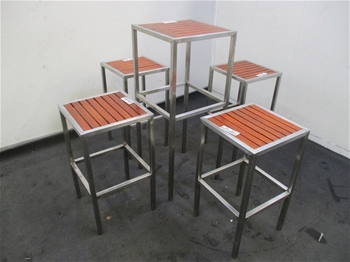 Qty of 5 Piece Leaner Table & Stools