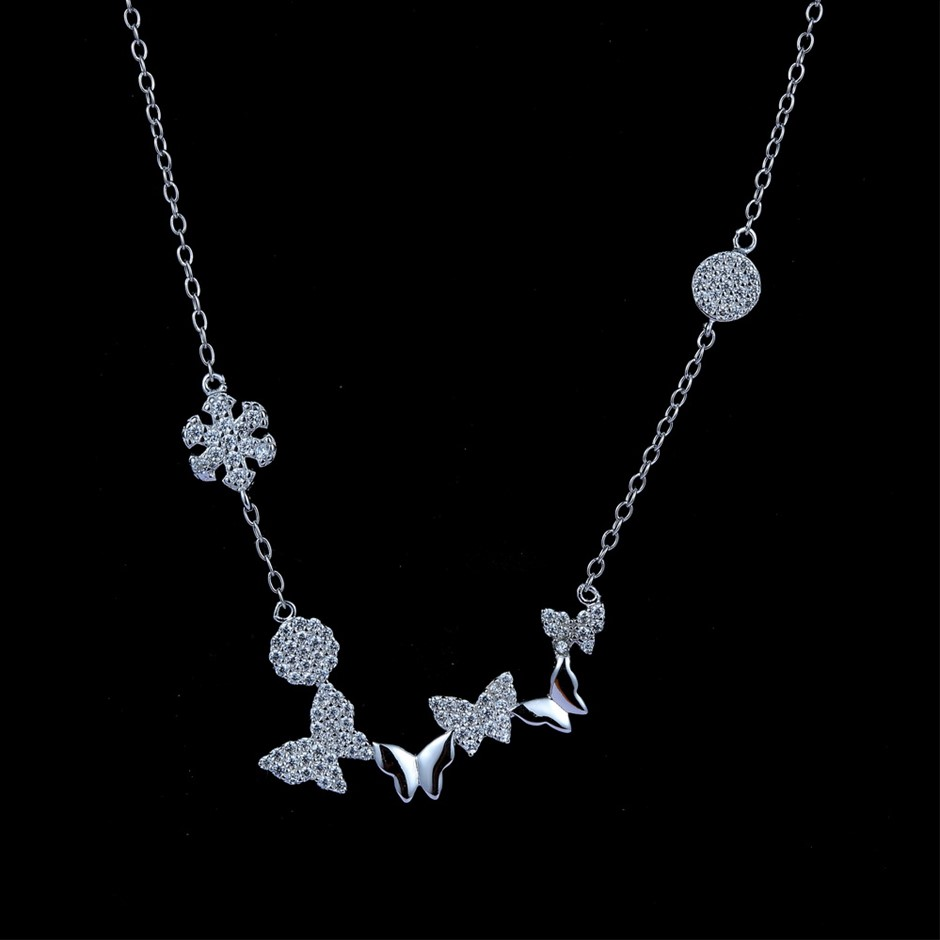 Genuine Sterling Silver butterfly & snow flake chain necklace 41 cm