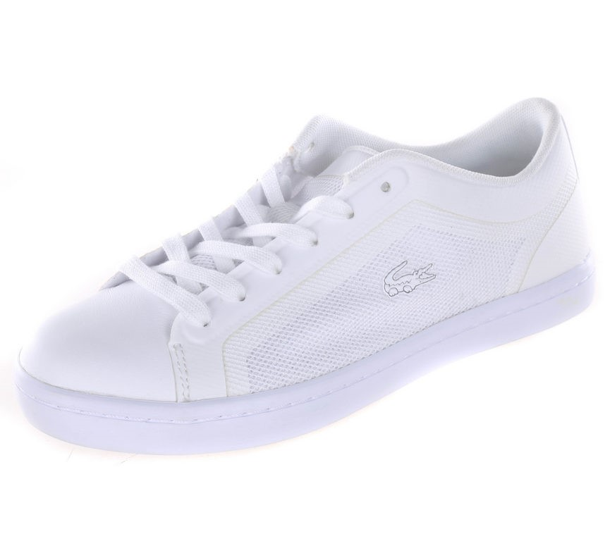 LACOSTE Women`s Straightset Tennis Shoes, UK Size 4, White. Buyers Note - D