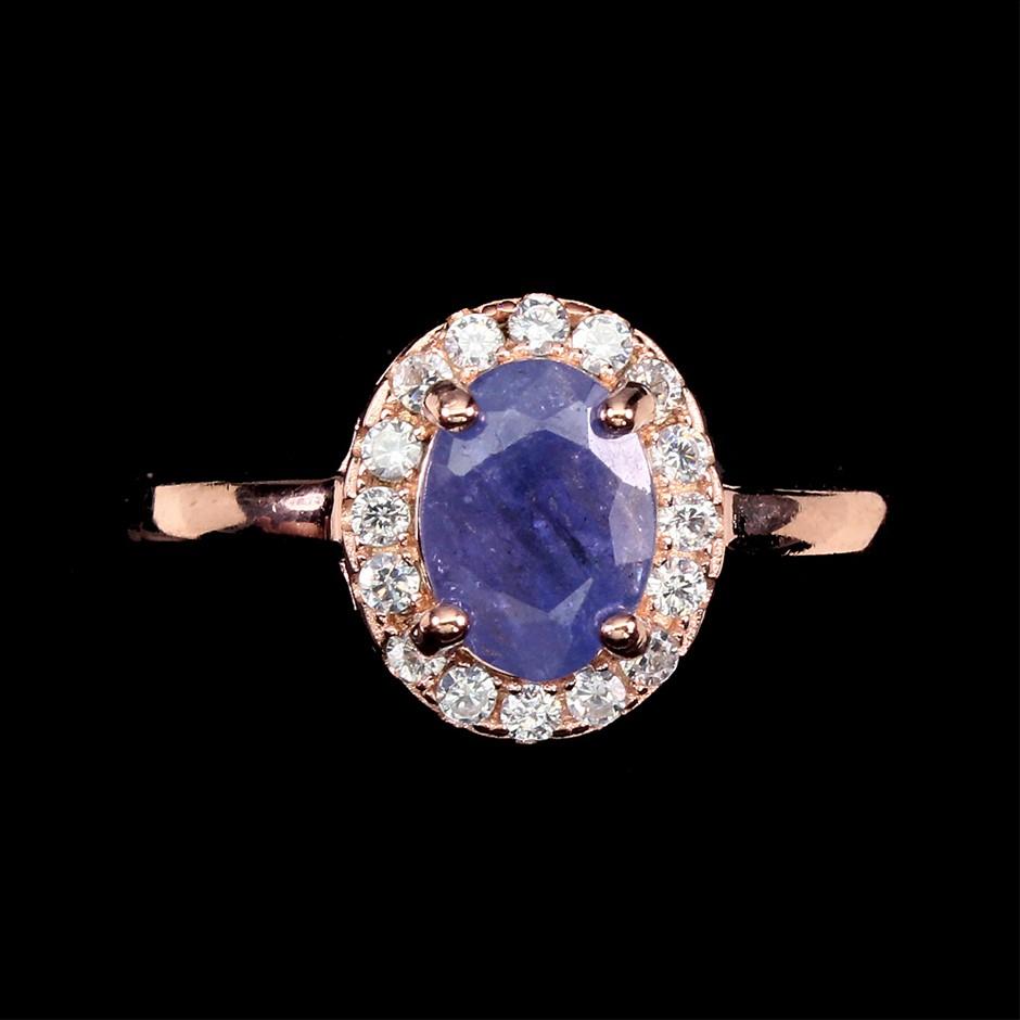 Delicate Genuine Tanzanite Solitaire Ring.