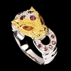 Unique Genuine Sapphire & Garnet Tiger Ring