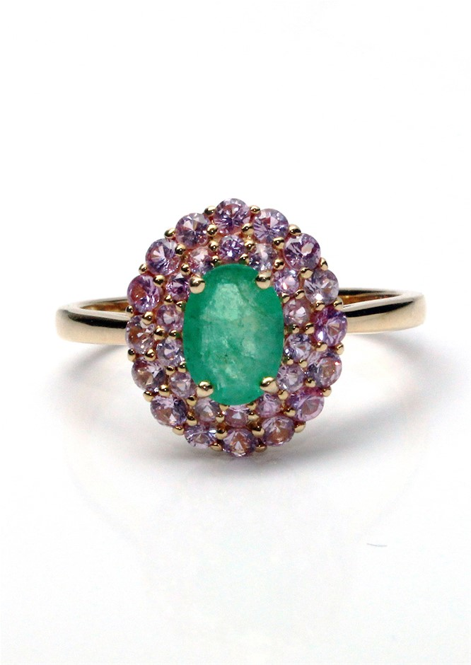 18ct Yellow Gold, 1.31ct Emerald and Pink Sapphire Ring